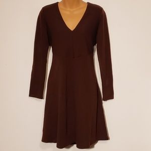 Ann Taylor | DarkBurgundy V-Neck Long Sleeve Dress